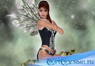 Шаблон для фотошопа - Ночная фея
