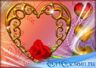 Романтическая рамка для фотошопа - Золотое сердце с розой