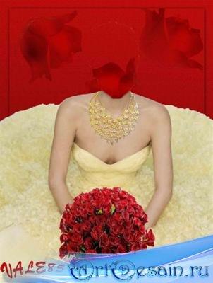 Шаблон для фотошопа - Желтое платье