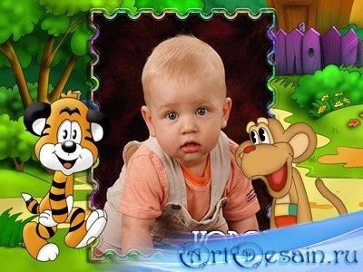 Детская рамка для фотошопа - В гостях у мультиков
