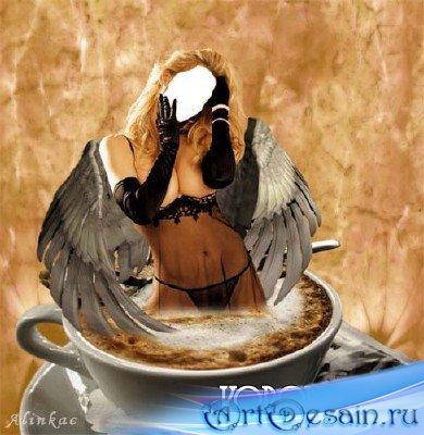 Шаблон для фотомонтажа - Ангел из чашки!
