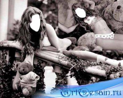 2 женских шаблона для фотошопа в черно-белом цвете