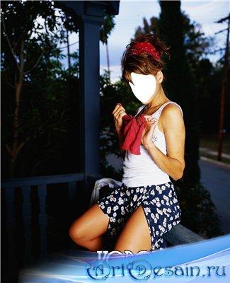 Шаблон для фотомонтажа - Милашка на заборе