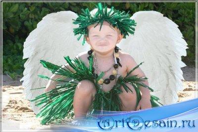 Шаблон для фотомонтажа - Ребёночек-ангелок