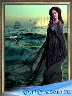 Женский шаблон для фотошопа - Девушка и море