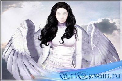 Шаблон для фотомонтажа - Девушка-ангелок