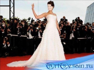 Шаблон для фотошопа - Девушка в белом платье