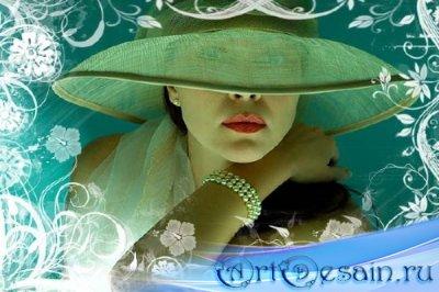 Шаблон для фотошопа - Дама в красивой шляпе