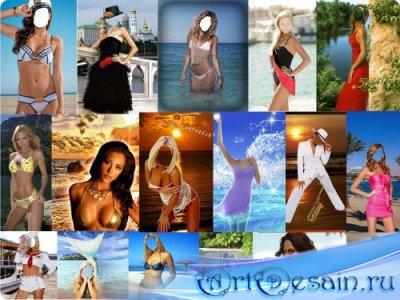 Шаблоны для фотошопа - Девчонки и вода