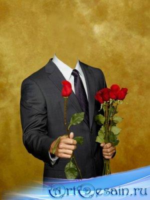 Шаблон для фотошопа - Мужчина с розами
