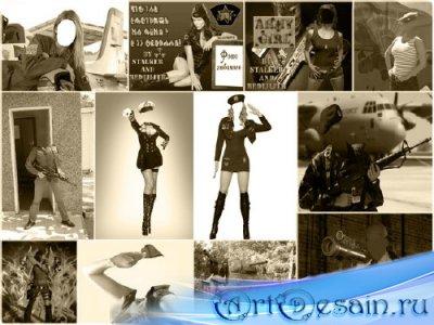 Шаблоны для фотошопа - Девушки и армия