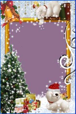 Новогодняя детская рамочка - Белый мишка