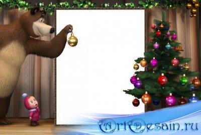 Детская рамка для фото - Маша и медведь Новогодняя