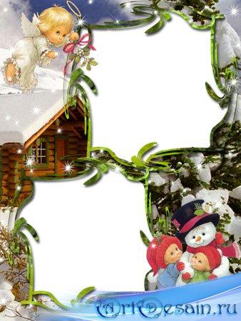 Рамка для фотошопа  - Новогодняя рамка с ангелом.