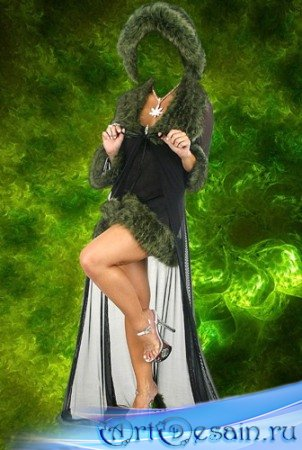 Шаблон для фотошопа - Девушка в манто.