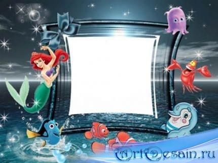 Детская рамка для фотошопа – Рыбки и русалка