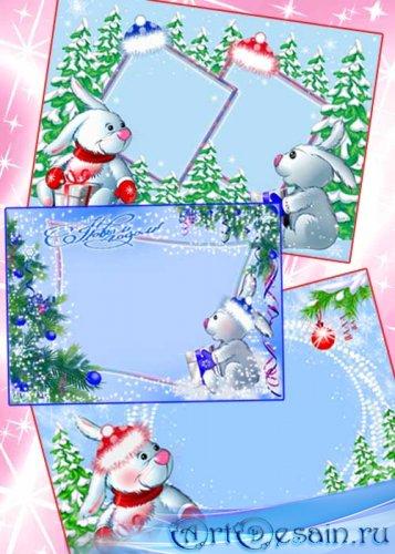 Детские новогодние рамки для photoshop - Кролики с подарками