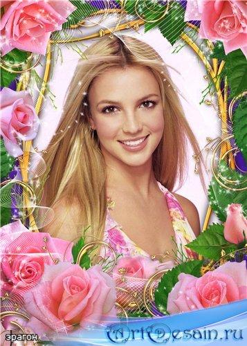 Женская рамочка для фотошопа – Аромат роз