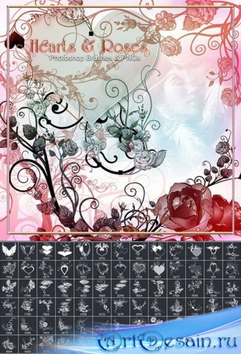 Кисти для Photoshop - Сердечки и розы
