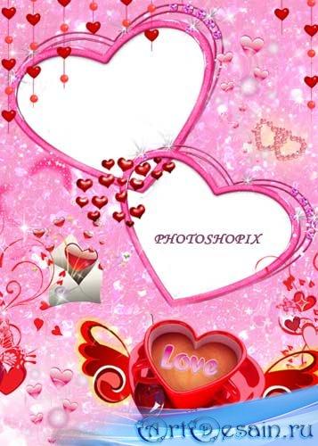 Романтическая рамка для Photoshop – Два сердца