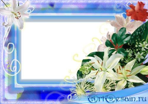 Романтическая рамка для фотошопа - Лилии на голубом фоне