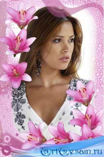 Рамка для фотошопа - Розовая лилия