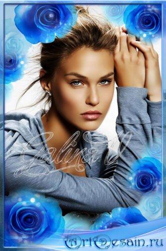 Рамка для фото - Синие розы