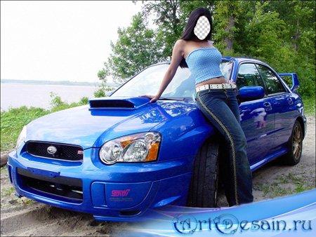 Шаблон - Девушка на природе у авто