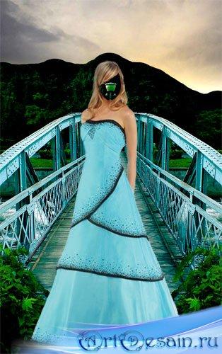 Женский шаблон для Photoshop – Девушка на мосту