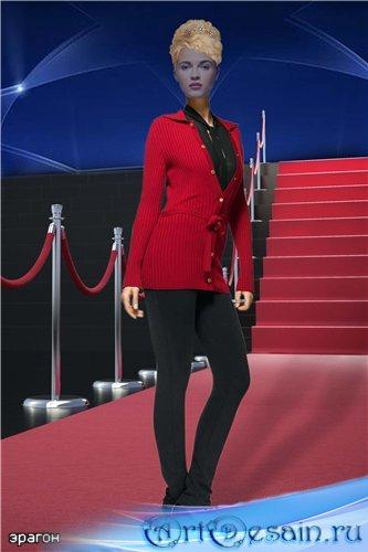 Женский шаблон для фотошопа – Красная дорожка