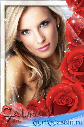 Рамка для фото - Розы в росе