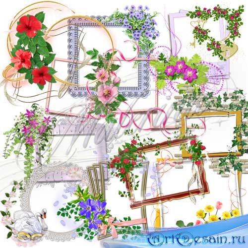 Клипарт -   Цветочные вырезы для рамок  / Clip Art - Floral cutouts for the ...