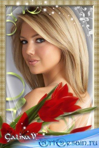 Весенняя рамка для фото - Красные тюльпаны