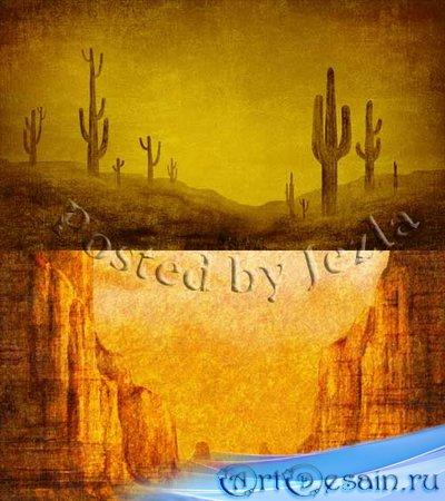 PSD Исходники - Дикий Запад: Пустыня, Кактусы, Большой Каньон