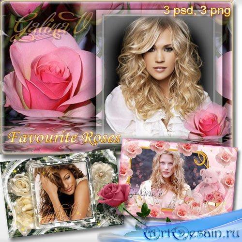 Набор цветочных фоторамок - Любимые розы