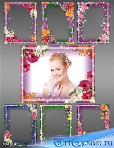 Набор рамочек для Photoshop – Цветочный микс