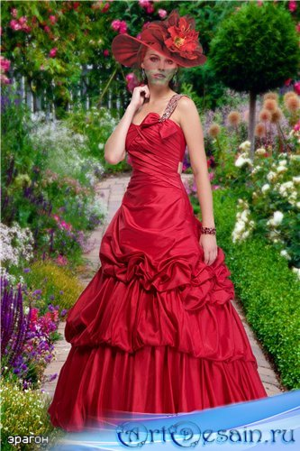 Женский костюм для фотомонтажа – Цветущий сад