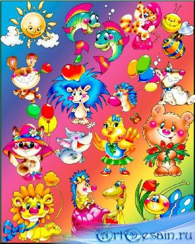 Детский PNG клипарт – Красочные зверюшки