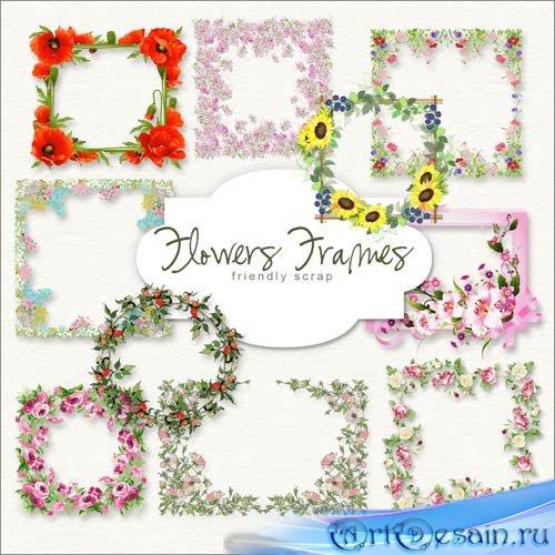 Цветочные рамки-вырезы для фото