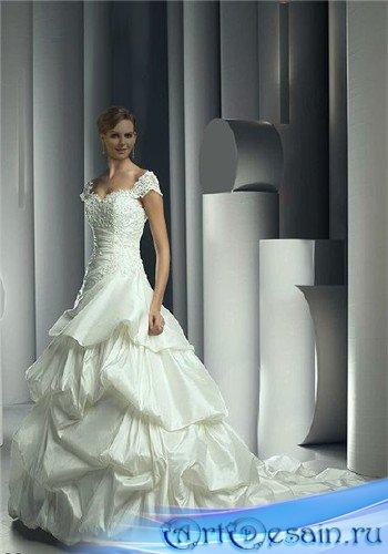 Шаблон для фотошопа - Невеста в кружевном платье