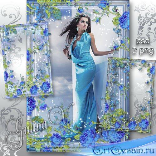 Цветочная фоторамка - Голубые розы