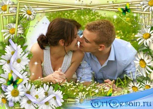 Весенняя цветочная рамка для фотошопа - Поцелуй в ромашках