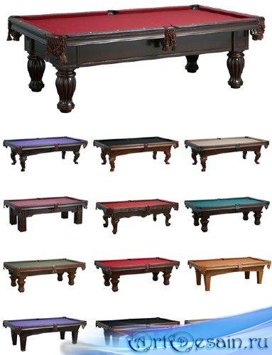 Бильярдные столы на белом фоне