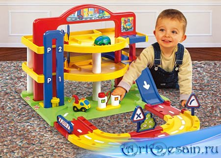 Детский шаблон для фотошопа - Автосервис