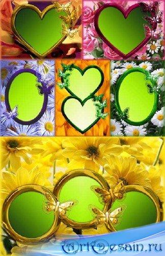 Коллекция рамок для фотошопа с весенними цветами