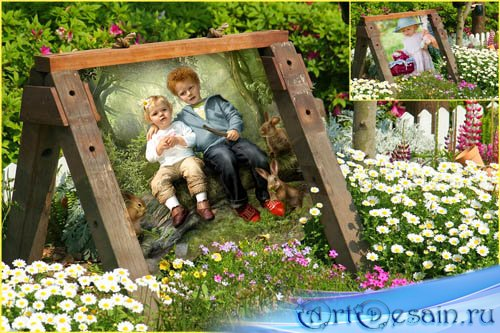 Детская рамка для Photoshop - В саду