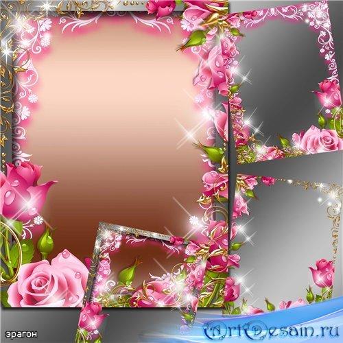 Женская рамка для фотошопа – Нежные розы