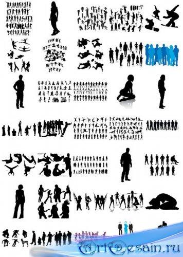 Подборка мужских и женских силуэтов в векторе