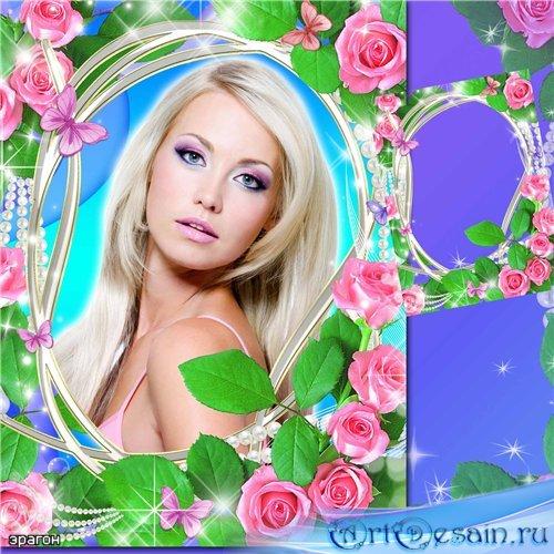Цветочная рамка для фотошопа – Ярко розовые розы