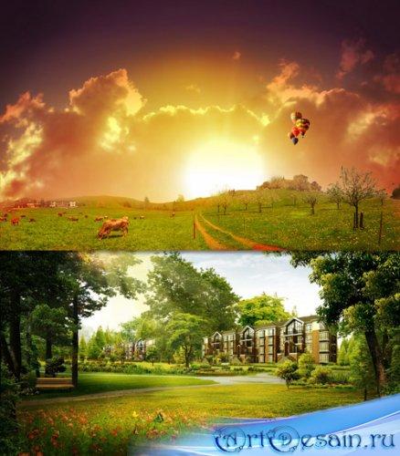 PSD исходники - Высококачественные пейзажные фоны (Часть 5)